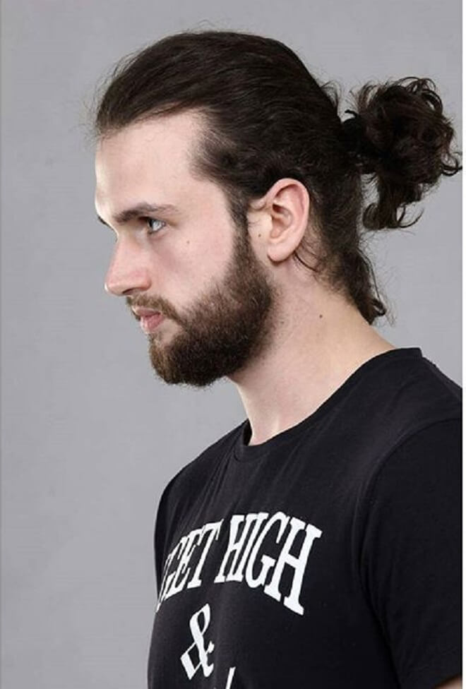 Men Ponytail with Beard Style