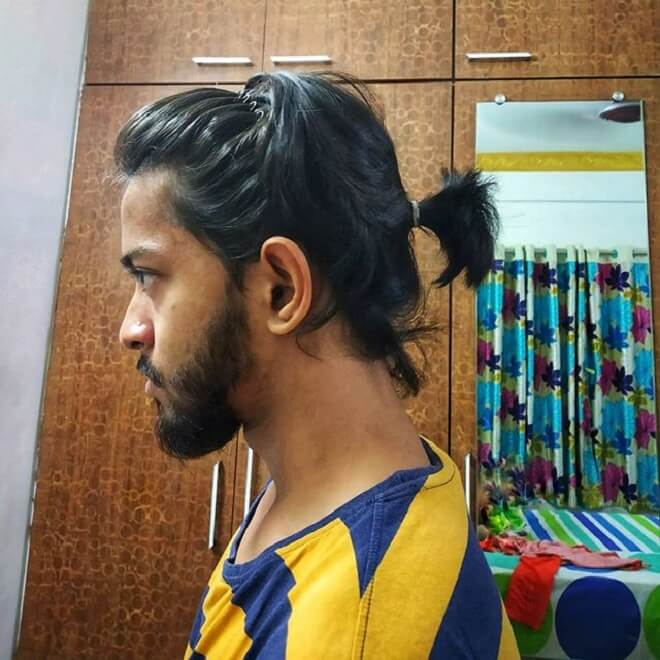 Men Short Ponytail with Headband