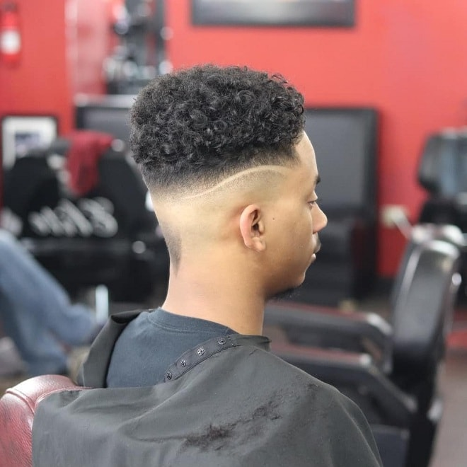 Mid Skin Fade with Short Curly Top