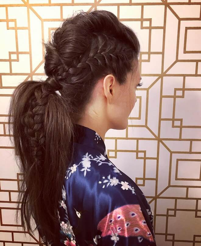 Mohawk Ponytail with Side Braid