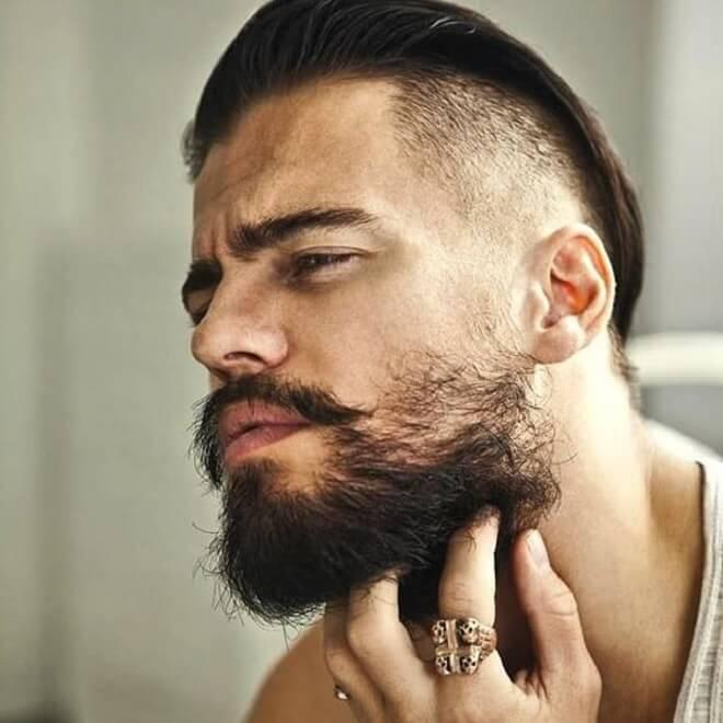 Mustache with Sleek Hair