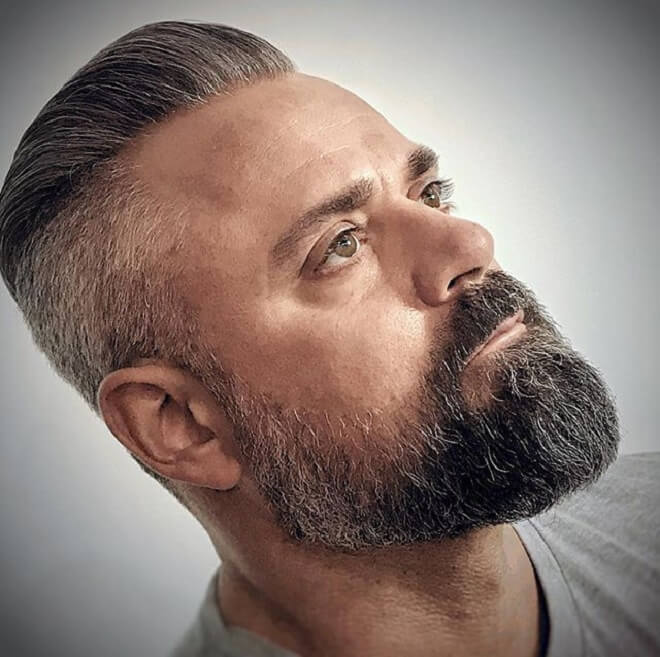 Older Men Haircut with Beard Style