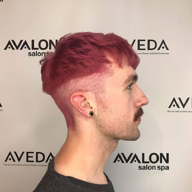Pink Color Hair with Bowl Cut
