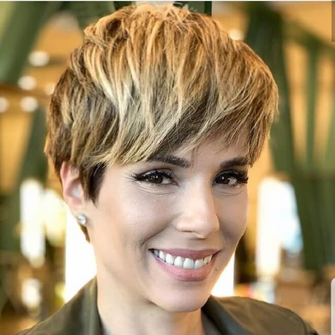 Pixie Cut With Side Swept Textured Bangs