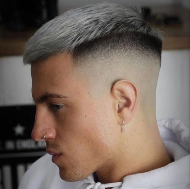 Razor Fade with Short Platinum Blonde Hair