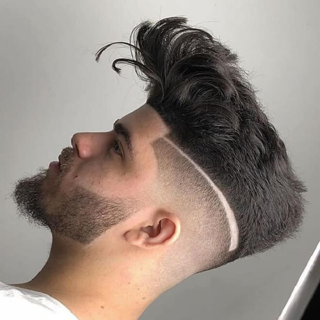 Sharp Fade with Line Haircut