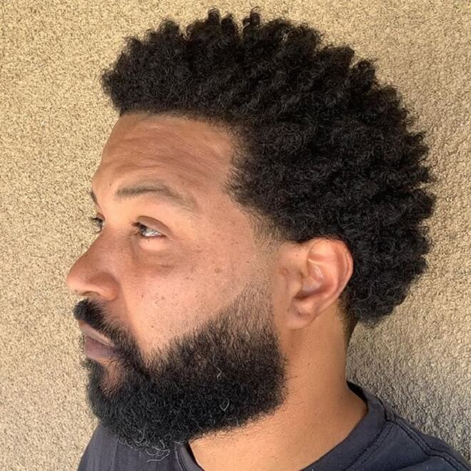 Short Afro with Beard Style