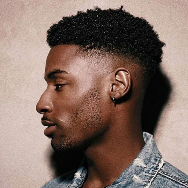 Short Curls with Bald Fade
