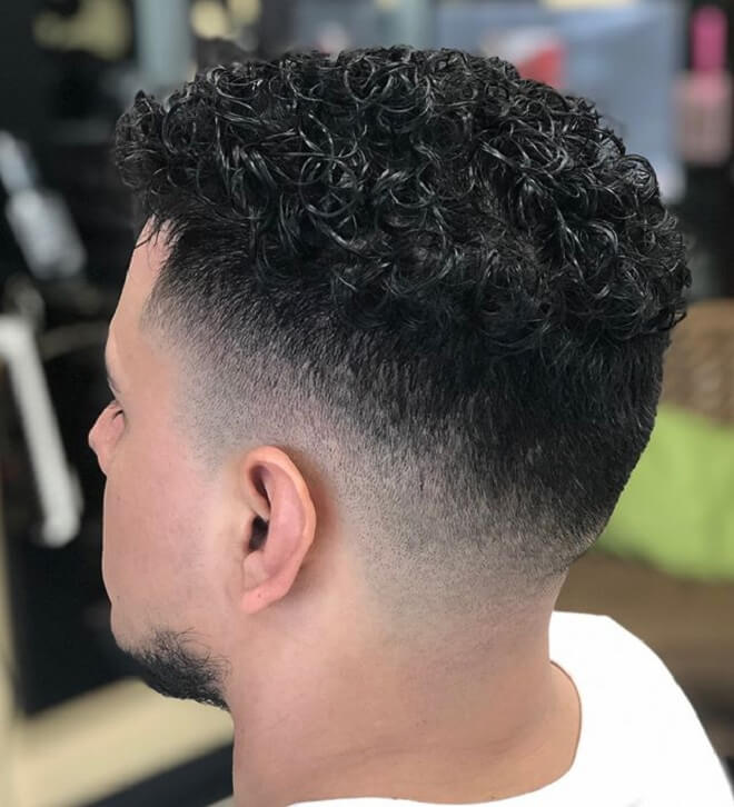 Short Curly with Skin Fade