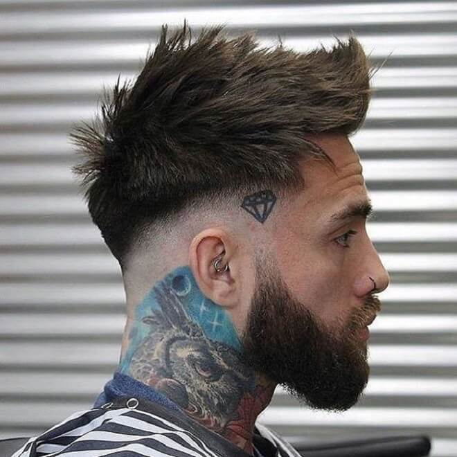 Short Textured Quiff with Low Bald Fade