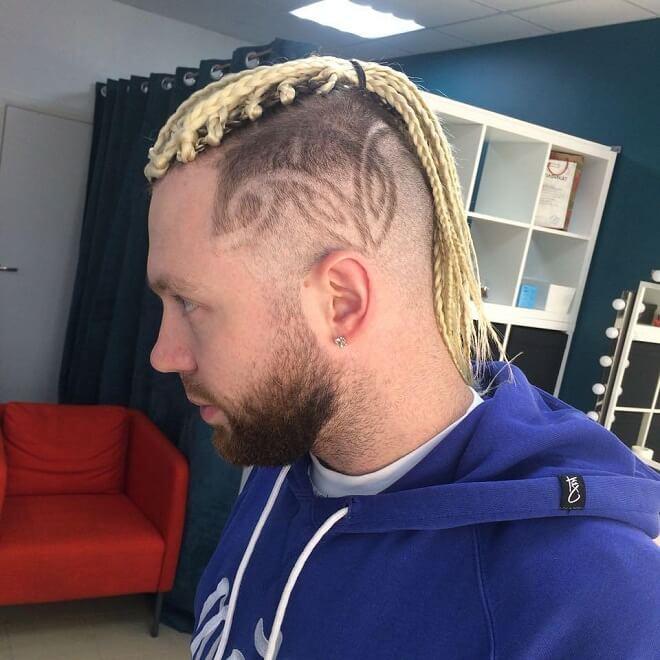 Side Part Design with Blonde Braid