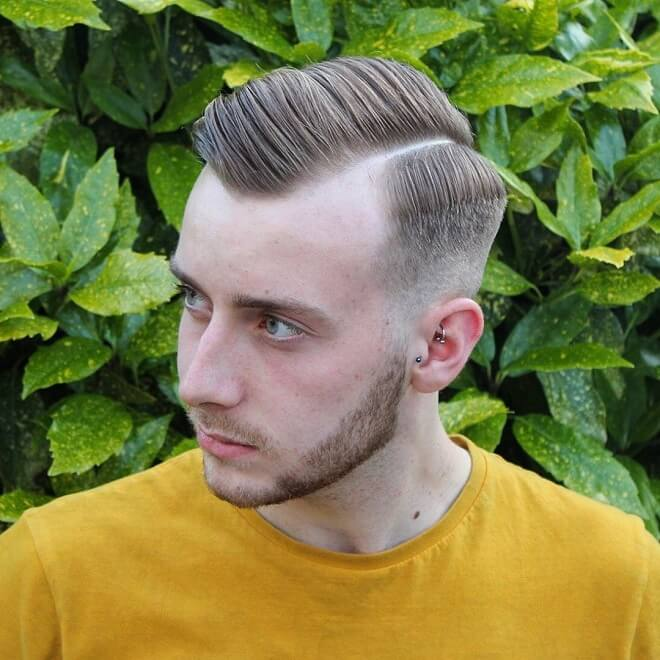 Side Swept Hairstyle with Hard Part Comb Over