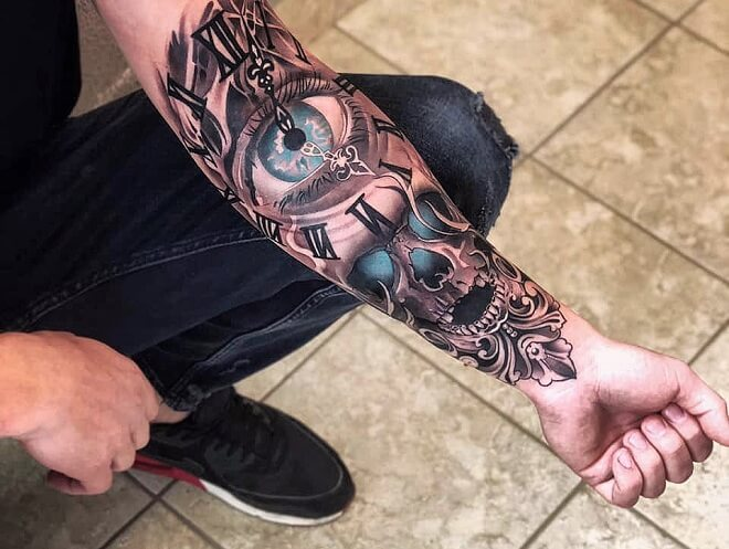Skull with Clock Tattoo