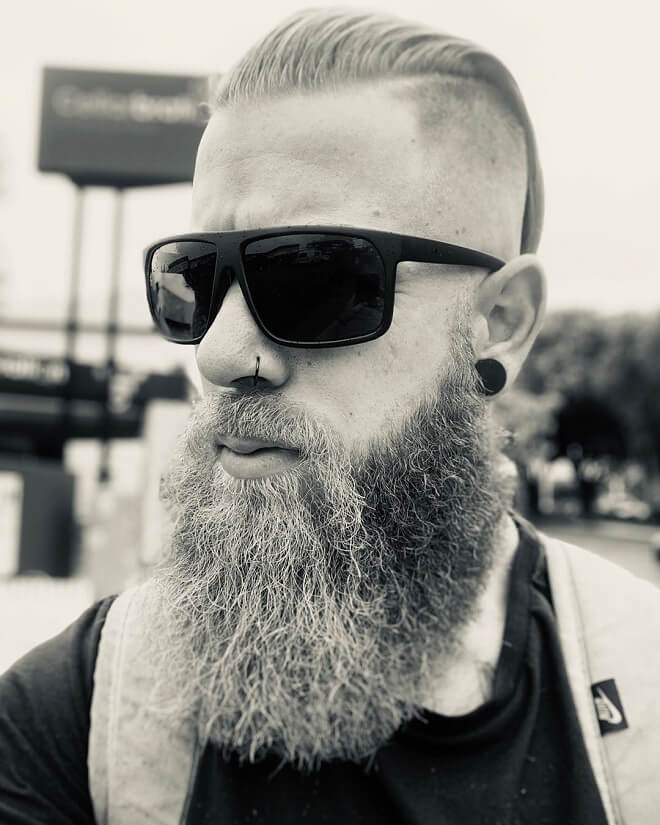 Slicked Back Hair with Long Beard Style