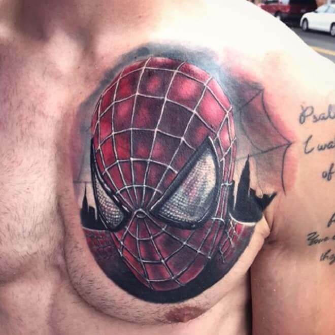 Spiderman Tattoo on Chest