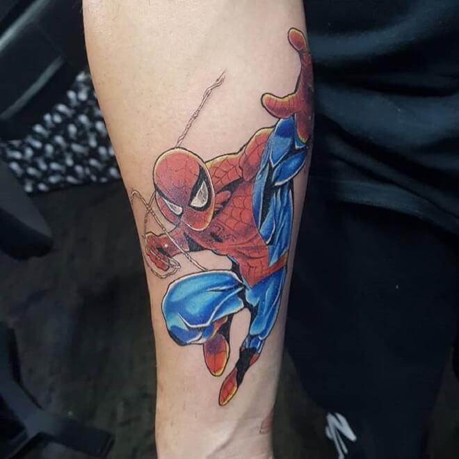 Spiderman Tattoo on Leg