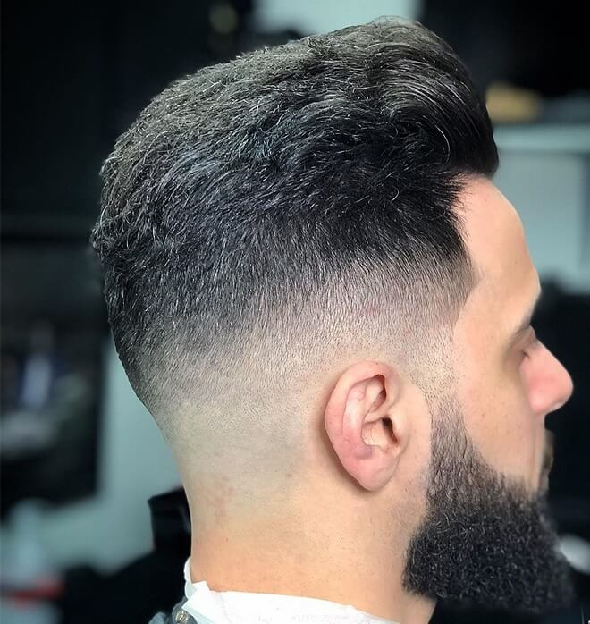 Swept Back with Low Fade Haircut