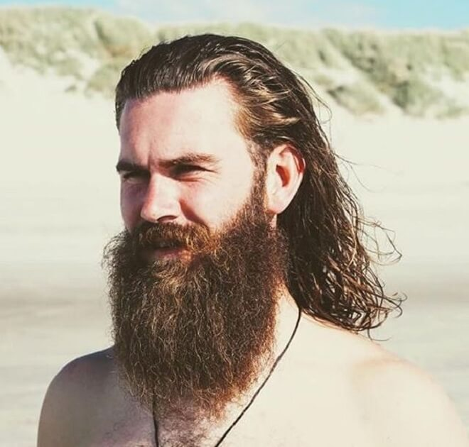 Swept Back with Men Long Hair