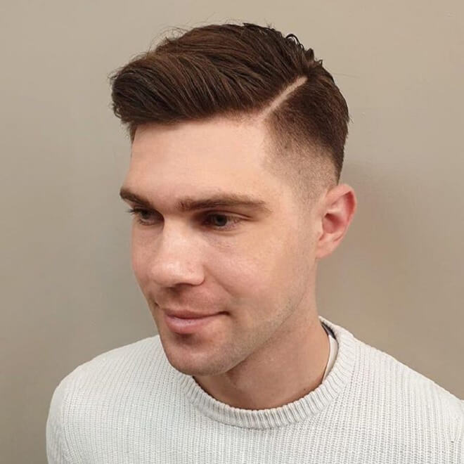 Temp Fade with Brushed Hair