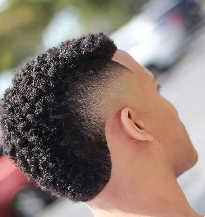 Temp Fade with Curly Mohawk
