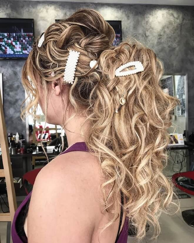 Updo Ponytail with Messy Blonde Hair