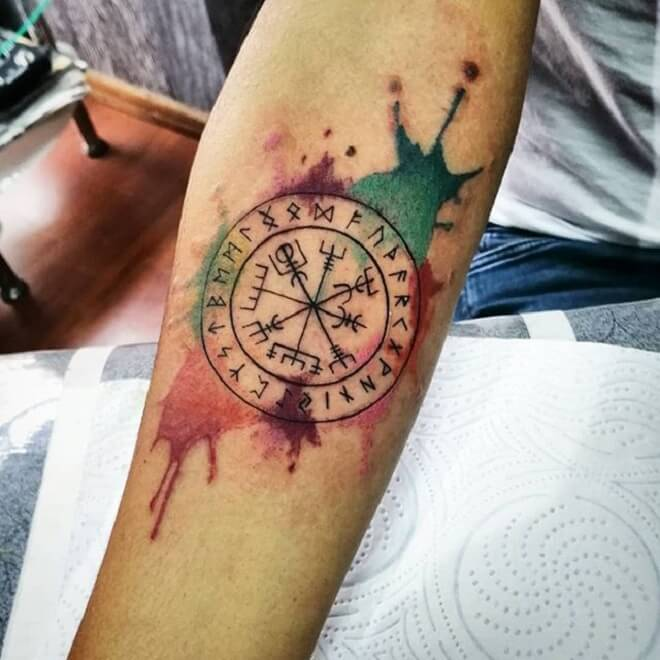 Water Color And Tribal Tattoo